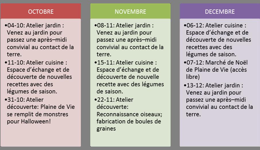 calendar 4eme trim