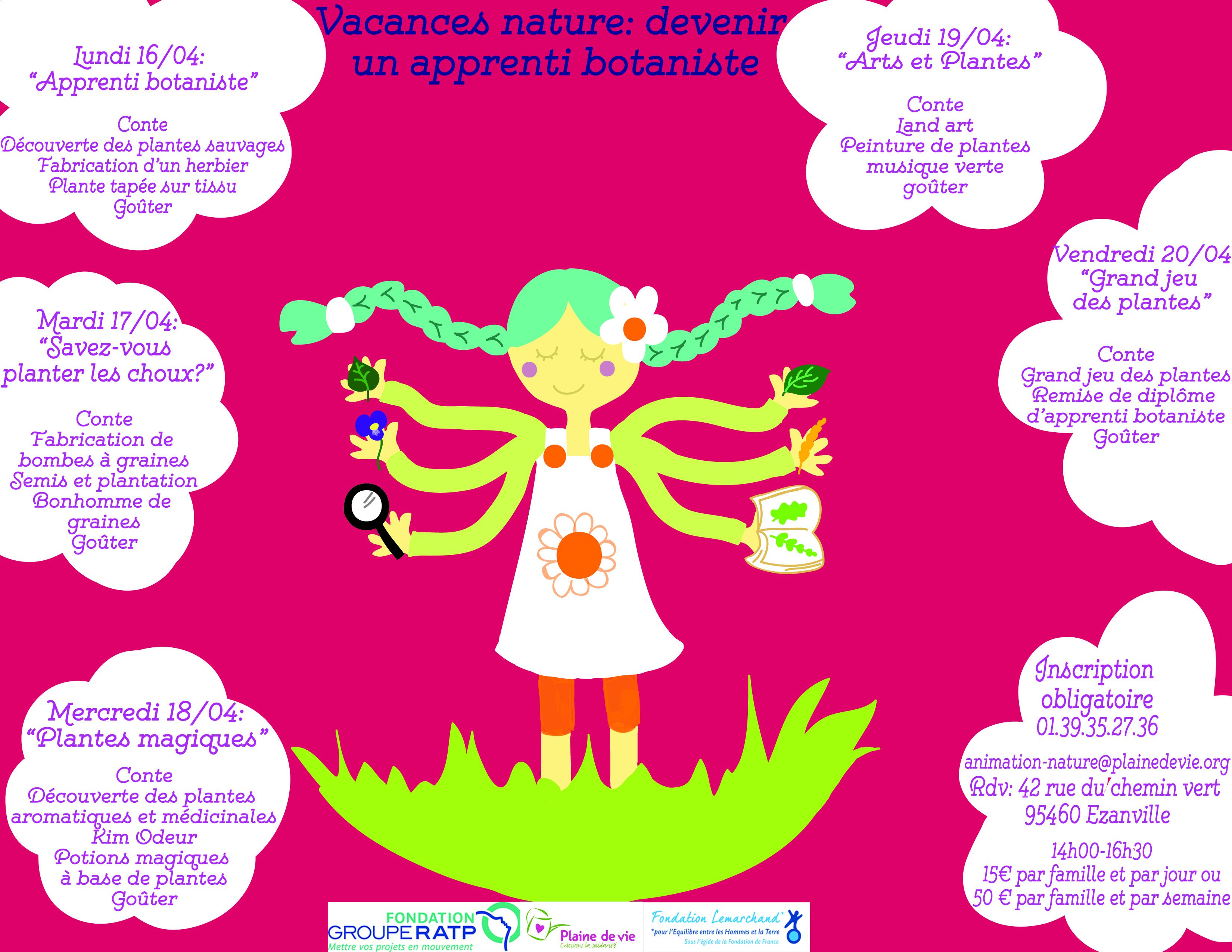 Semaine de l'apprenti botaniste du 16 au 20/04