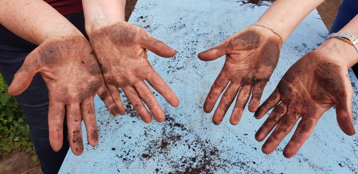 Les mains de la terre, les mains dans la terre, les mains pour la terre!